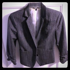 Grey Express Blazer with Leather Collar
